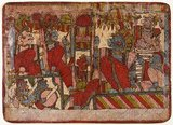 "Watercolour painting of Rama and Lakshmana in Conference with Sugriva, the Monkey King, and other companions. Scene from the Story of the Burning of Lanka, Folio from a Ramayana (Story of Rama), Maharashtra, c.1850.<br/><br/>  The Ramayana is a story as old as time and - at least in the Indian subcontinent and across much of Southeast Asia - of unparalleled popularity. More than 2300 years ago the scholar-poet Valmiki sat down to write his definitive epic of love and war.<br/><br/>  The poem Valmiki composed is styled the Ramayana, or ""Romance of Rama"" in Sanskrit. In its present form, the Sanskrit version consists of some 24,000 couplets divided into seven books."